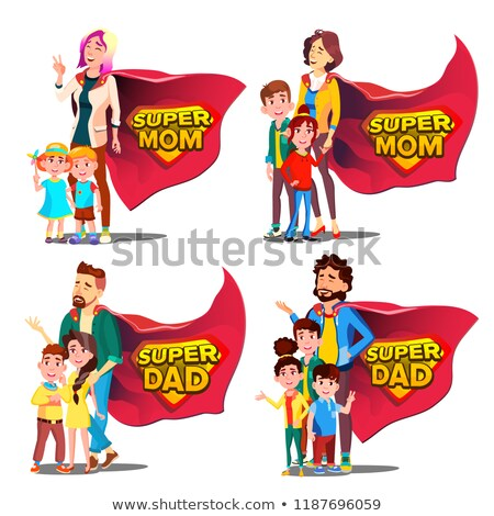 Super Mom Vector. Mother's Day. Shield Badge. Isolated Flat Cartoon Illudtration Stock photo © pikepicture