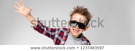 fiú · gratulálok · üveg · kék · pezsgő · fehér - stock fotó © traimak