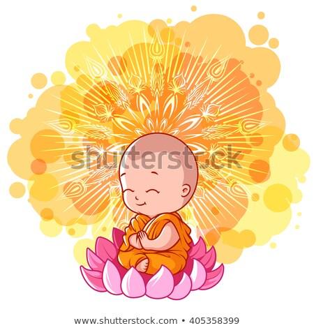 Cartoon sacerdote seduta illustrazione felice cross Foto d'archivio © cthoman