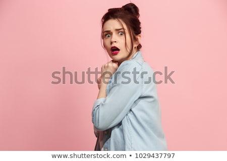 Portré félő fiatal nő közelkép nő néz Stock fotó © Kzenon