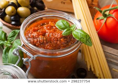 jar · salsa · ingrediënten · voedsel · achtergrond · groene - stockfoto © melnyk