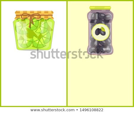 Preserved Food Poster Lime and Black Picked Olives Stock photo © robuart