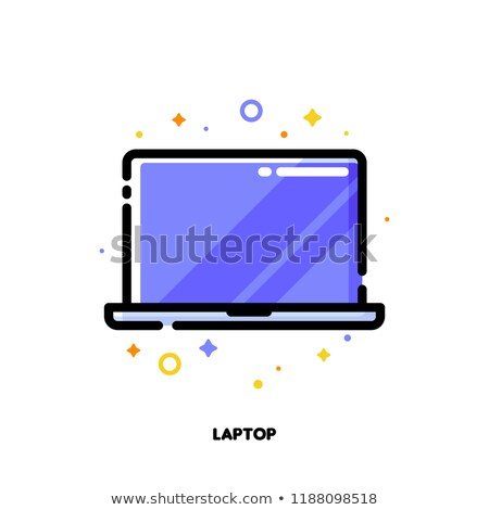 Icon of laptop computer with big display with purple screen Stock photo © ussr