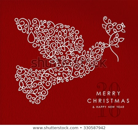 Merry christmas happy new year outline dove deco Stock photo © cienpies