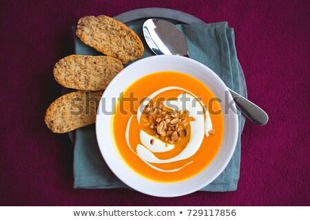 Zoete aardappel soep gember voedsel najaar plantaardige Stockfoto © M-studio