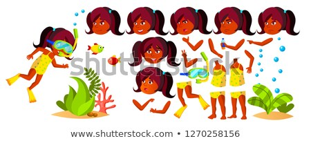 Indian fille maternelle Kid vecteur animation Photo stock © pikepicture