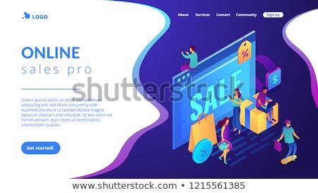 Stock photo: Online sales pro concept Isometric 3D landing page.