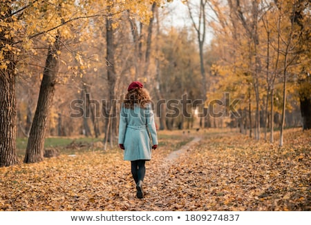 happy girl with fallen maple leaves at autumn park Stock photo © dolgachov