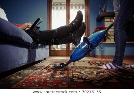 feliz · mulher · aspirador · de · pó · casa · pessoas · trabalhos · domésticos - foto stock © dolgachov