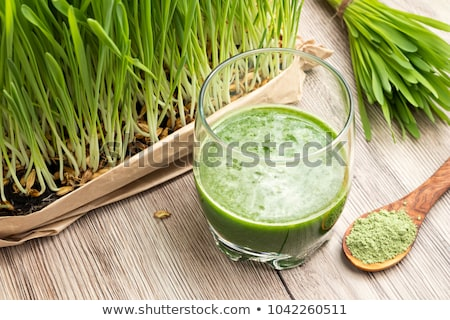 Freshly harvested barley grass on a wooden background Stock photo © madeleine_steinbach