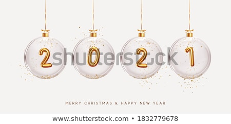 golden glitter christmas balls vector realistic merry christmas stock photo © frimufilms