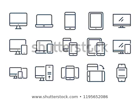 desktop computer icon vector symbol Stock photo © blaskorizov