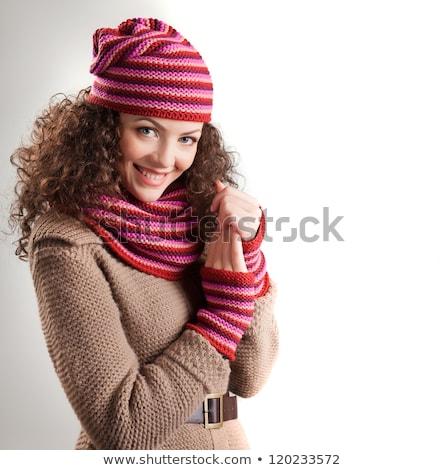 Bella autunno cappotto Hat seduta Foto d'archivio © deandrobot