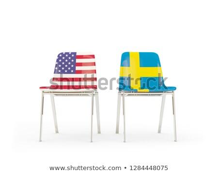 Dois cadeiras bandeiras Suécia isolado branco Foto stock © MikhailMishchenko