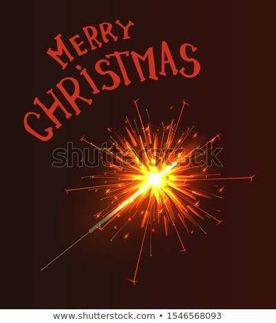 Sparkler with Burning Fire Isolated on Brown, Xmas Stock photo © robuart