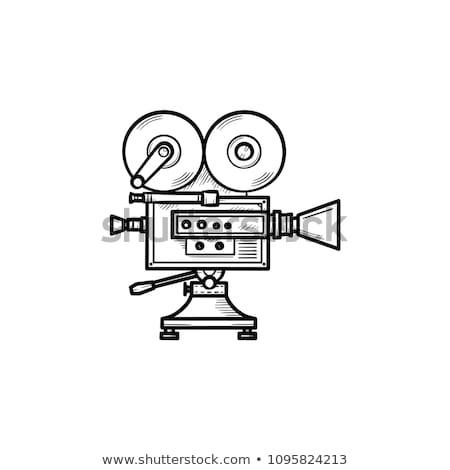 caméra · vidéo · dessinés · à · la · main · doodle · icône · vintage - photo stock © rastudio