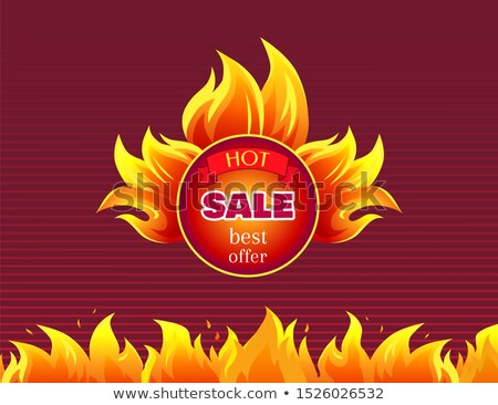 Hot Sale Best Offer Promo Label with Fire Splashes Stock photo © robuart