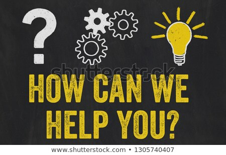 Foto stock: Question Mark Gears Light Bulb Concept - How Can We Help You