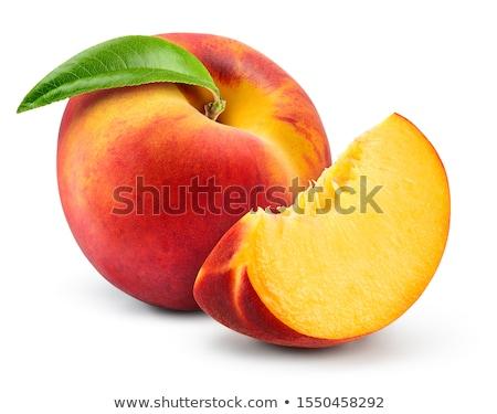 pêssego · mascote · ilustração · feliz · indicação · comida - foto stock © colematt