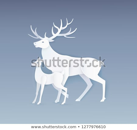 deer and fawn with full side view on grey vector stock photo © robuart