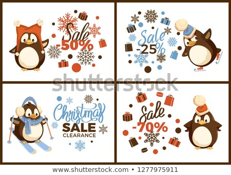 Skating and Skiing Penguin, Christmas Sale Vector Stock photo © robuart