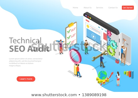 flat isometric vector landing page template of seo ranking monitor stock photo © tarikvision