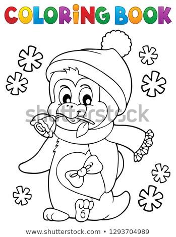 книжка-раскраска счастливым Валентин пингвин книга закрывается Сток-фото © clairev