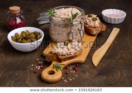 Ekmek dilimleri balık tablo akşam yemeği Stok fotoğraf © boggy