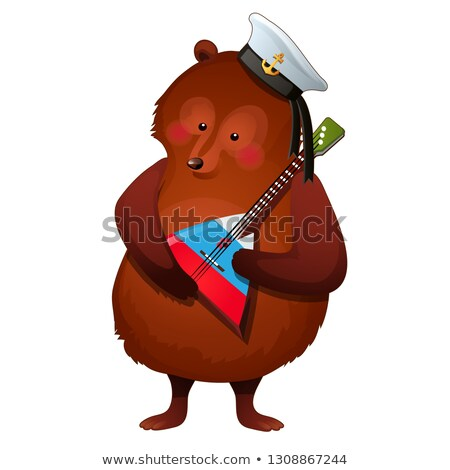 The brown bear in the sailor hat holds the national Russian musical instrument balalaika in its paws Stock photo © Lady-Luck