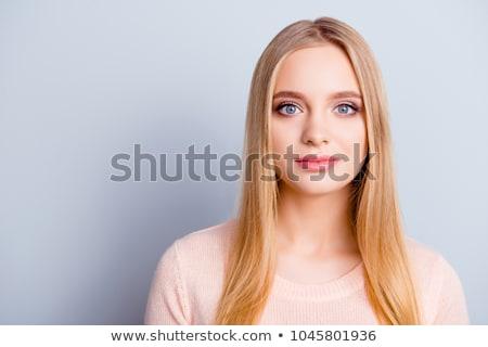 pacífico · mujer · pelo · largo · aislado · gris · cintura - foto stock © studiolucky