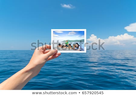 marco · plantilla · monos · isla · ilustración · naturaleza - foto stock © bluering