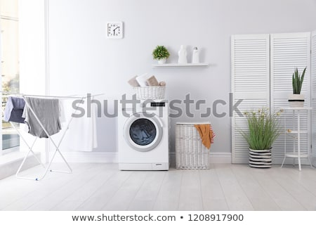 Buanderie chambre machine à laver intérieur réel maison Photo stock © choreograph