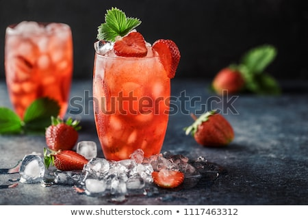 glass of strawberry soda drink stock photo © grafvision