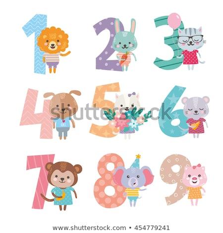 Oktatási számok szett aranyos rajzolt állatok rajz Stock fotó © izakowski