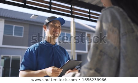 Opened Door Shipping Parcels Home Shipping Stock photo © limbi007