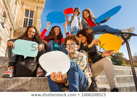 A street boy with speech balloon stock photo © colematt