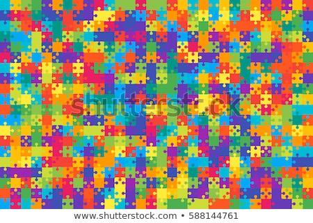 Színes puzzle különálló darabok absztrakt zöld Stock fotó © ratkom