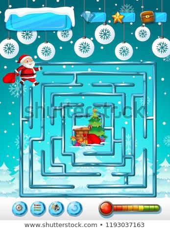 santa claus maze game template stock photo © colematt