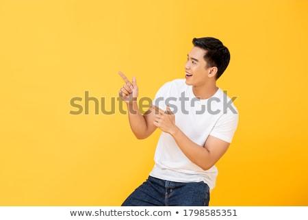 Portret radosny młodych asian człowiek śniadanie Zdjęcia stock © deandrobot
