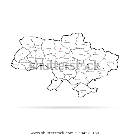 map of ukraine with divisions vector illustration isolated on black background stock photo © kyryloff