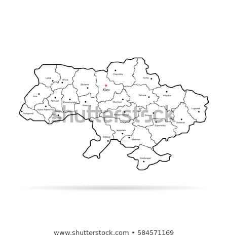 Kaart Oekraïne geïsoleerd zwarte stad abstract Stockfoto © kyryloff