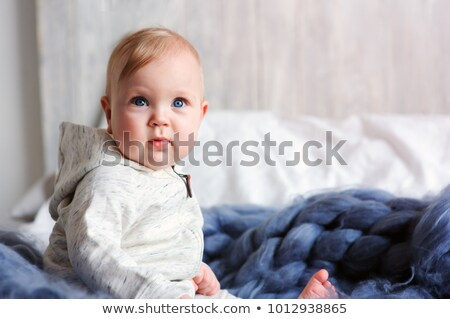 Aranyos hónapok kislány ágy reggel lány Stock fotó © Lopolo