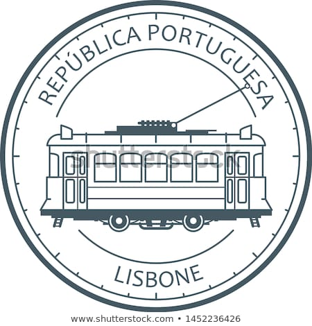 Vintage city tram - tramway in Lisbon, Portugal emblem, outline  Stock photo © Winner