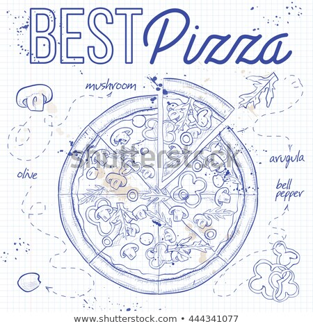 Pizza with mashrooms on a notebook page Stock photo © netkov1