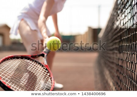 tennis ball over racket held by young female player stock photo © pressmaster