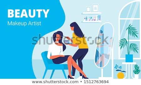 Sminkmester szolgáltatás nő szék mester vektor Stock fotó © robuart