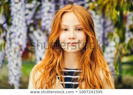 Foto stock: Menina · fechar · criança · cabelo