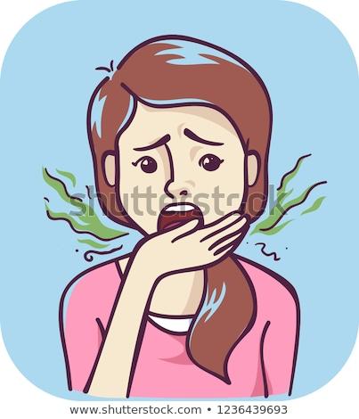 Genç kız semptom kötü nefes örnek genç kız Stok fotoğraf © lenm
