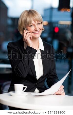 Business woman tabletka farbują działalności garnitur Zdjęcia stock © ra2studio
