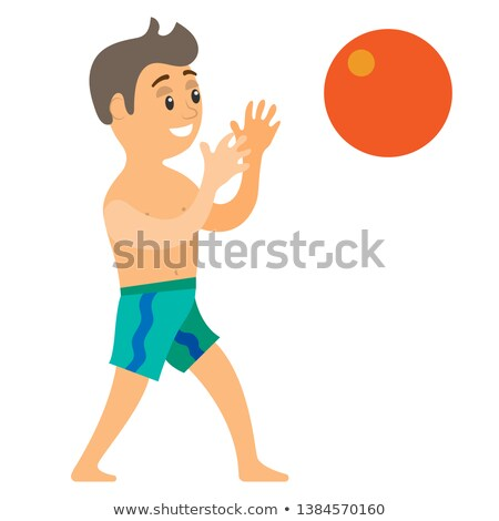 Teenager Catching Ball, Summer Vacation Vector Stock photo © robuart